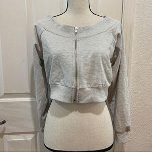 ASOS Cropped Zip Up Sweatshirt Top NWT Gray 12P LP